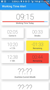 Screenshot of Working Time Alert