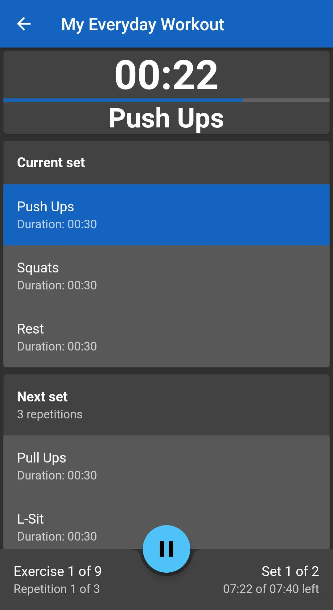 Screenshot of Just Another Workout Timer