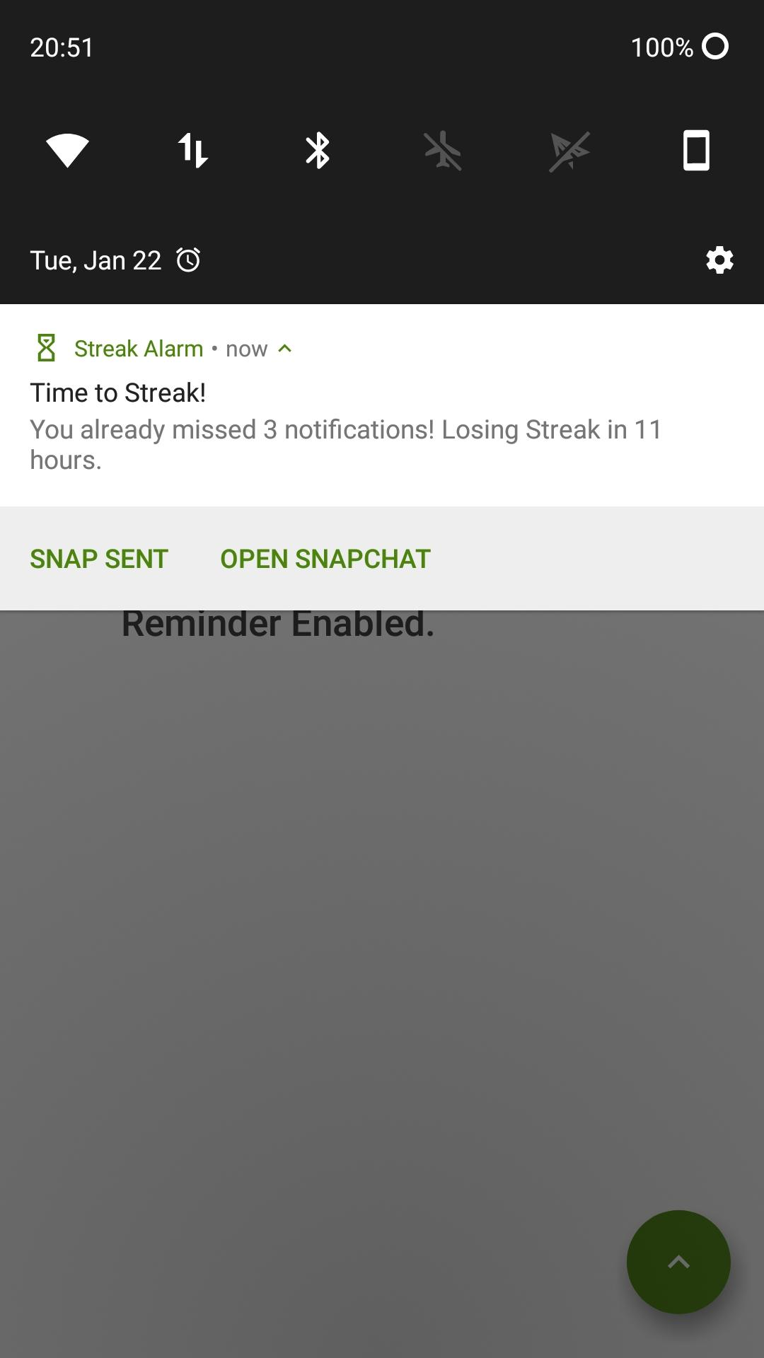 Screenshot of Streak Alarm