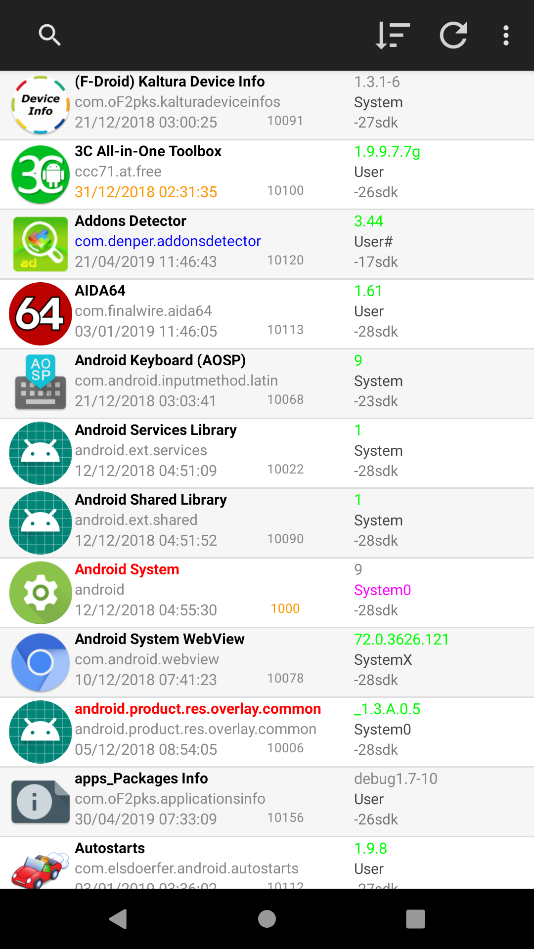 Screenshot of apps_Packages Info
