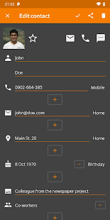 Screenshot of Simple Contacts Pro