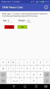 Screenshot of Child Resus Calc