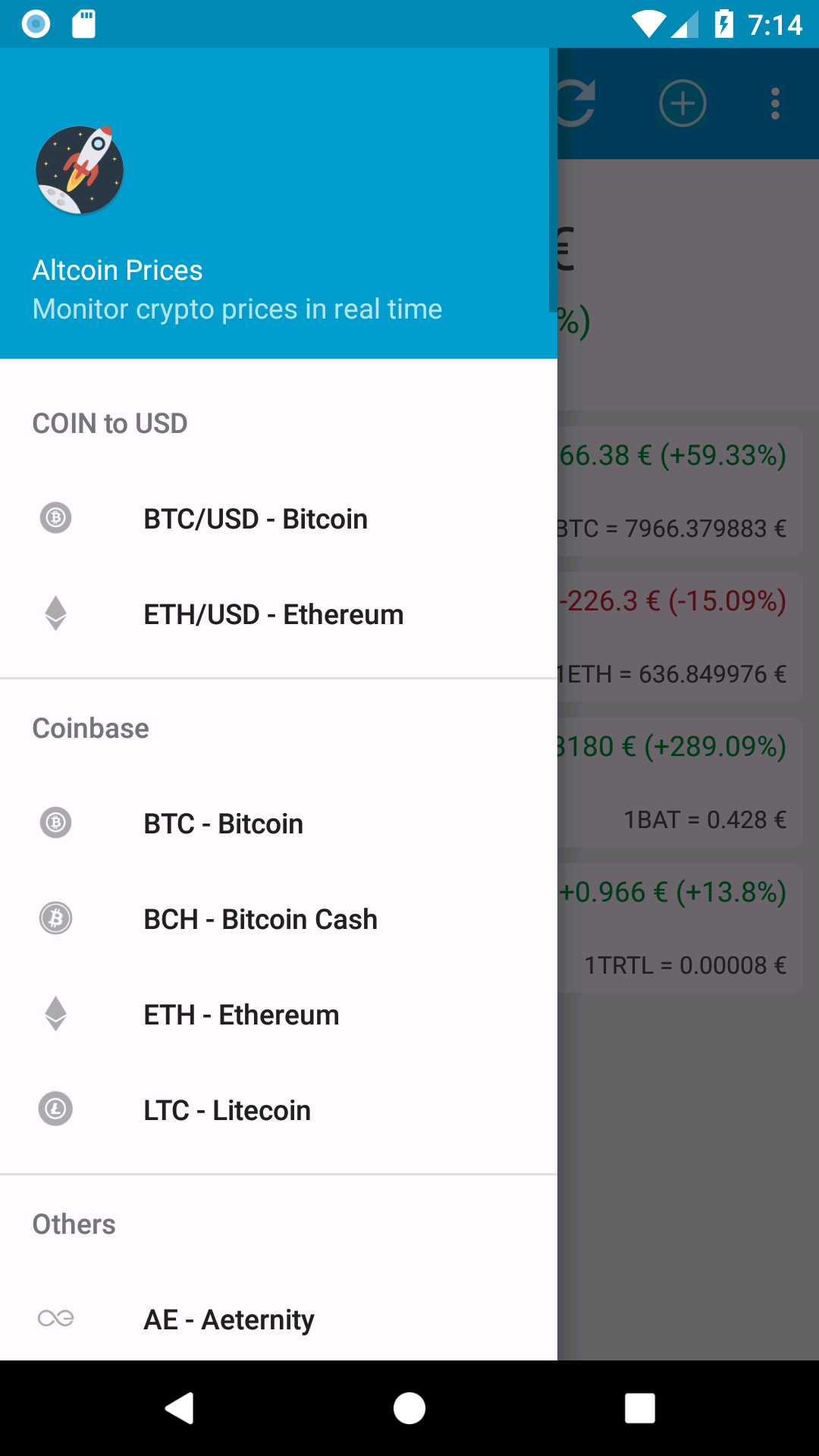 Screenshot of Altcoin Prices