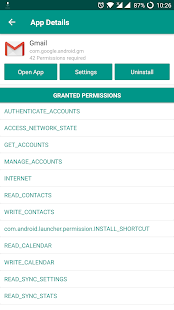 Screenshot of Android Permissions