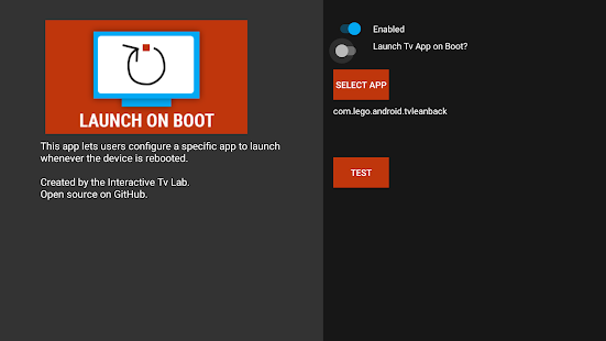 Screenshot of Launch on Boot