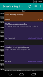 Screenshot of 33C3 Schedule