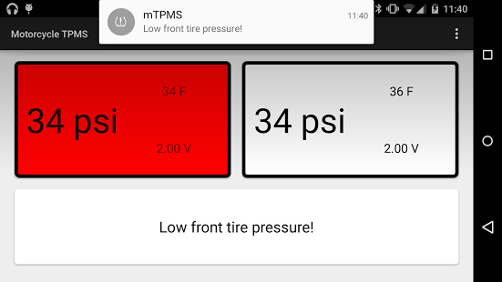 Screenshot of mTPMS