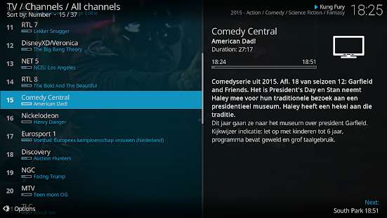 Screenshot of Kodi